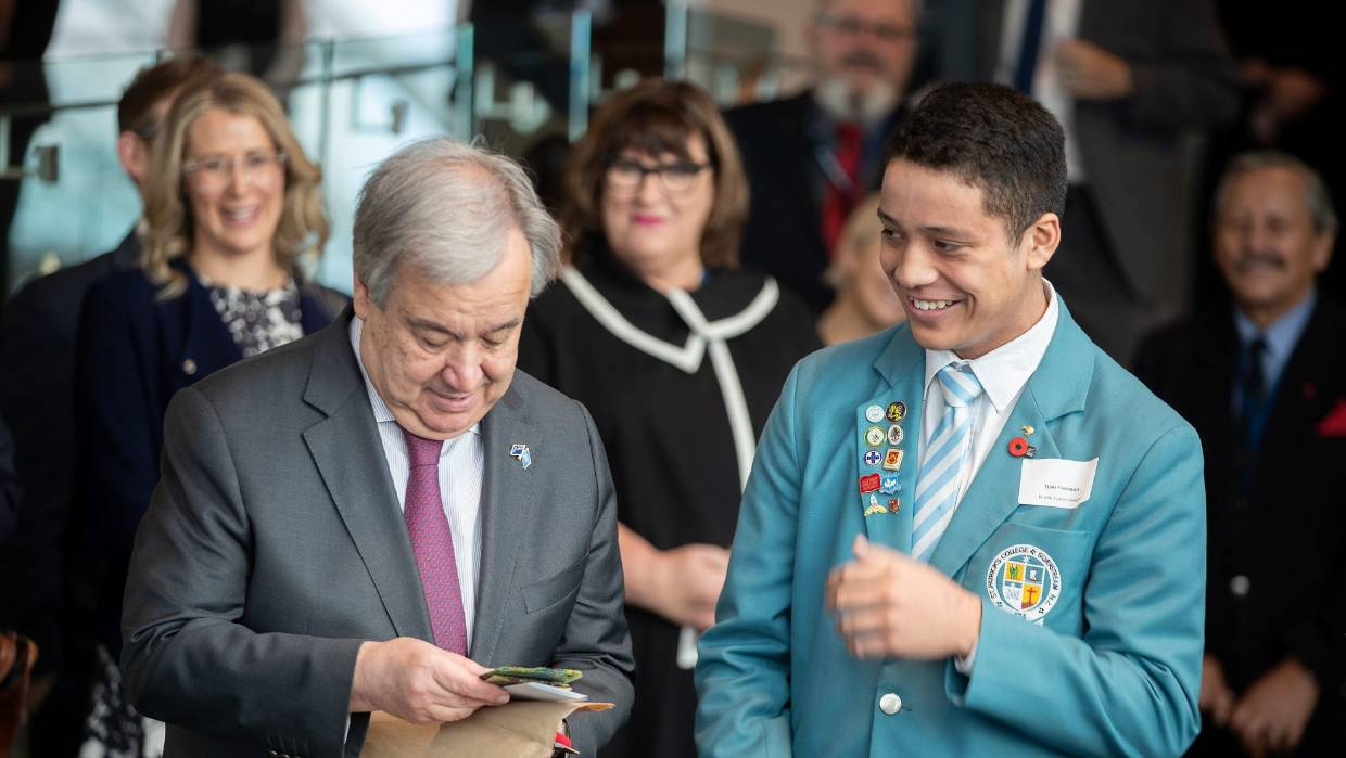#leadership:  Old Boy Tiaki Freeman meets UN Secretary General